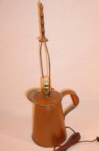 Vtg Copper Pitcher Arts Crafts Mission Electric Table Lamp Brass Harp Finial