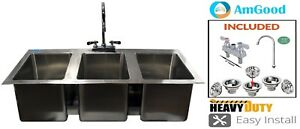 18 5 X 38 3 Compartment Sink Commercial Stainless Steel 10 Faucet Nsf