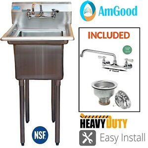 22 X 20 One Compartment Sink Commercial Stainless Steel W 10 Faucet Nsf