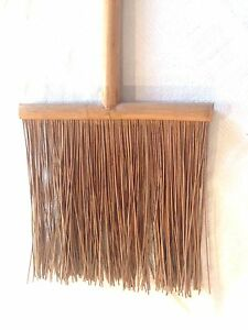 Rare Folk Art Handmade Antique Style Hearth Fireplace Reed Rush Display Broom