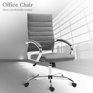Modern High Back Office Chair Leather Ribbed Padded Armrest Computer Desk Seat