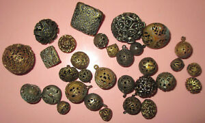 Fab Collection Lot Antique Victorian Metal Filigree Cricket Bird Cage Buttons