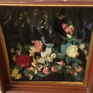 Antique Victorian Mourning Wax Flowers In Walnut Shadow Box Picture Frame 19th C
