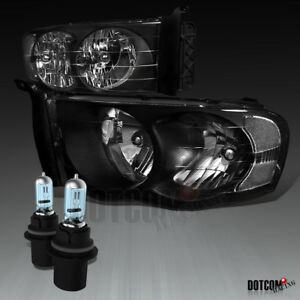 2002 2005 Dodge Ram 1500 2500 3500 Pickup Black Headlights 9007 Hb5 Halogen Bulb