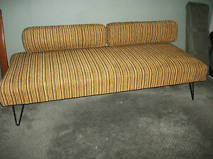 Mid Century Autumn Orange Stripe Sofa Couch Daybed Metal Frame Great Condition