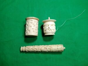 Antique Thimble Needle And Thread Spool Holder Set Chinese 1880 S