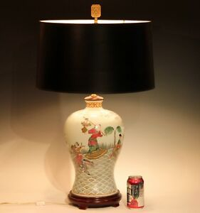 Vintage Chinese Porcelain Vase Lamp Figures Large Famille Rose