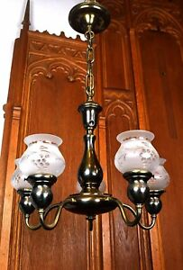 Vintage Antique Brass Five Light Chandelier With Shades