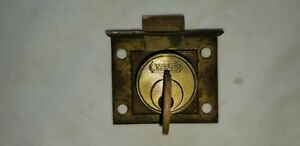 Small Vintage Yale Brass Cabinet Door Latch Lock With Key