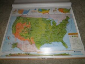 Nystrom Triple Pull Down World Usa Map California Home School Markable Custom
