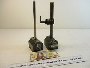 2 Brown Sharpe 599 Magnetic Base Upright Clamp Dial Test Indicator Holder
