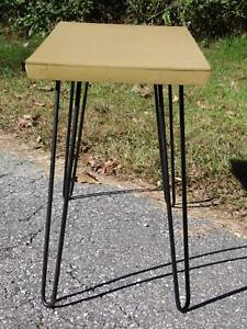 Vintage Mid Century Modern Blonde Formica Console Entry End Table Hairpin Legs