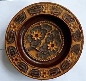Large Treen Wooden Bowl Charger Platter Carved Flower Pattern
