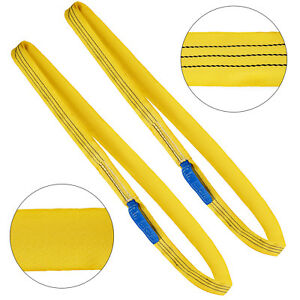 2pcs 8ft 6600lbs Endless Round Lifting Sling Recovery Strap Yellow