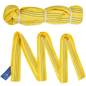 2pcs 10ft 6600lbs Endless Round Lifting Sling 4t 6600lbs Recovery Strap Rigging