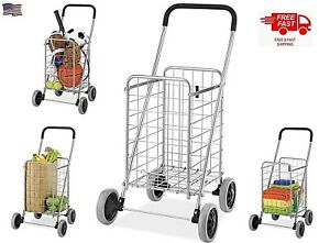 Folding Shopping Cart Large Basket Grocery Toy Laundry Travel Heavy Duty Wheels