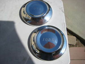 Pair 1950s Ford Dog Dish Hubcap Wheel Cover Center Cap Antique Vintage Poverty