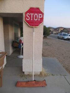 Reflective Stop slow Paddle Construction Sign With 6 Foot Pole