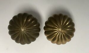 Antique Brass Door Knobs Art Deco Set Of 2 Scalloped
