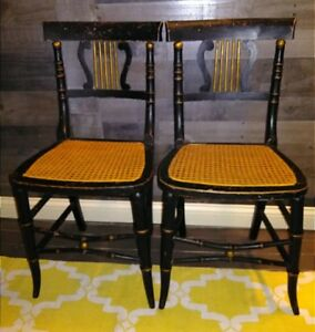 Antique Chinese Chippendale Lyre Back Chairs Caned A Pair