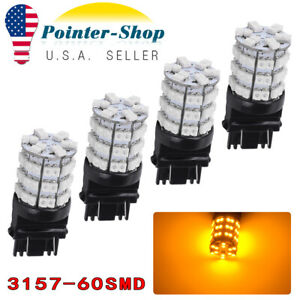 4pcs Amber 3157 3156 3047 4057 60smd 3528 Led Bulbs Reverse Back Up Tail Light