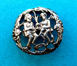 Antique Tested Sterling Silver Button 2 Seated Figures R G Co Adam Eve