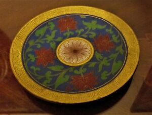 Chinese Cloisonne Enamel Round Tray Plate Lotus Flower Hand Made Dish Antique