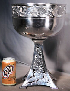 Giant Antique Poole Silver Art Nouveau Holy Grail Chalice Centerpiece Poppy Vase