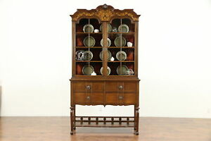 English Carved Oak Marquetry Antique China Curio Display Cabinet 30273