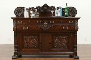 Victorian Oak Sideboard Server Or Buffet Carved Head Paw Feet 30280