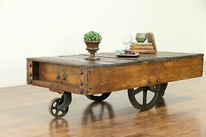 Industrial Salvage Antique Cart Or Trolley Iron Wheels Coffee Table 30303