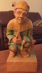 German Hand Carved Wood Figurine Folk Art Der Dukatenscheisser Money Sh Er