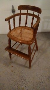 Antique Wooden Childs Windsor Style Booster Chair
