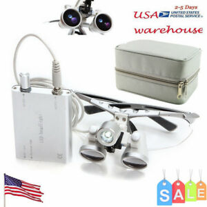 Us Dental Loupes 2 5x 420mm Surgical Binocular led Head Light Lamp carry Case