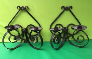 2 Vintage Decor Candle Holder Wrought Iron Fireplace Mantle Sconces Double
