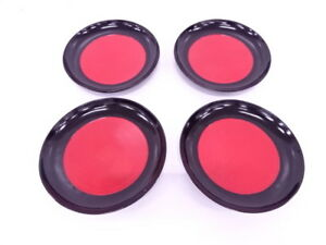 3975303 Japanese Tea Ceremony Black Red Lacquered Serving Plate Set Of 4