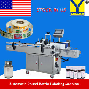 Auto Cylindrical Bottle Labeling Machine Self adhesive Label Sticker Labeler