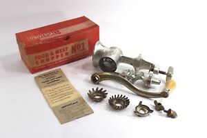 Vintage Universal Cast Iron Food Chopper Meat Grinder No 1 Box And Booklet
