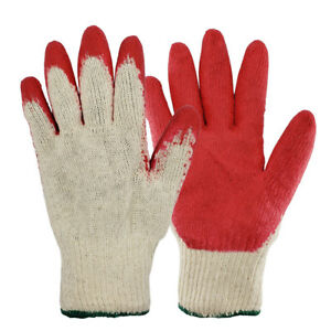 Work Gloves Pairs Red Latex Rubber Palm Coated made In Korea Us Ship
