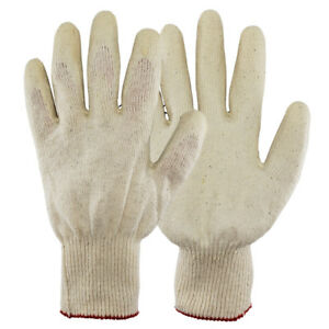 Work Gloves Pairs White Latex Rubber Palm Coated made In Korea Us Ship