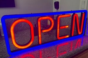 New Led Open Sign Horizontal Hanging Bright Large Sign 23 Blue Red