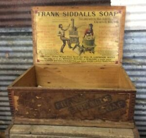Rare Antique Frank Siddalls Soap Wooden Shipping Crate Box W Amazing Paper Label