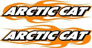 Arctic Cat Snowmobile Flame 2 Sticker Decal Set Orange 11 X 48 Each
