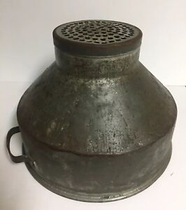 Vintage Metal Milk Strainer Funnel Lamp Shade Farm Tool Primitive 12 3 4