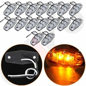 16 Mini Clear amber 12v Clearance Lamp 2 Wire Design Trailer Truck Waterproof