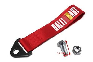 Jdm Ralliart Racing Universal Front Rear Tow Strap Tow Hook Ribbon Red