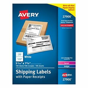 Avery White Shipping Labels With Paper Receipts 5 1 16 x7 5 8 100 Pack 27900