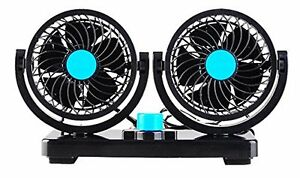 12v Car Vehicle Truck Boats Air Dual Cooling Cooler Adjustable Speed Fan Quiet