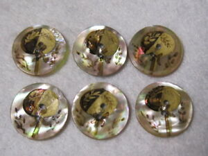 Vintage Set Of Painted Mop Buttons Fan