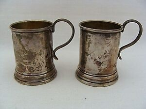 Miniature Lunt Sterling Silver Beer Stein Set Of 2